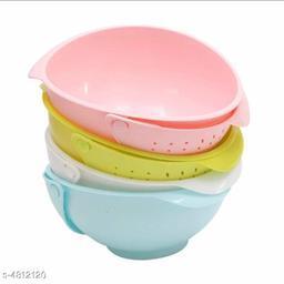 Washing Bowl & Strainer Cum Basket (Pack Of 2)