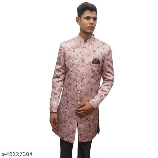 MUSTKEEM Indo Western Fashionable Stylish Polyester Silk Blend Ethnic Wear Men's Sherwani for Wedding/Party/Occasional Dress