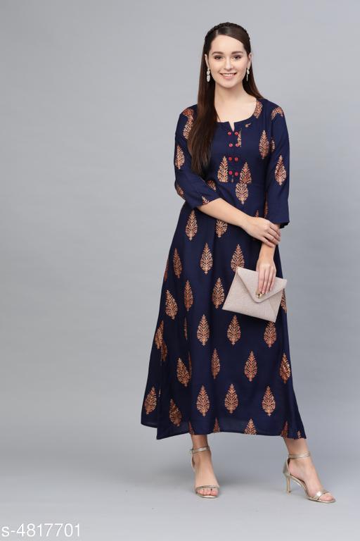 Women's Printed Navy Blue Cotton Dress
