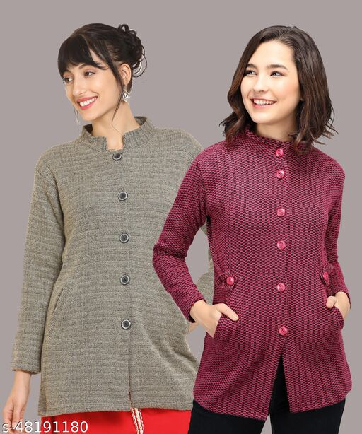 Solid coloured casual sweater for women