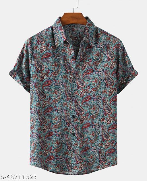 Men's Printed Cotton Casual Half Sleeve Shirt