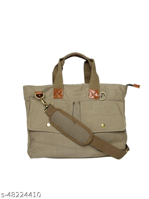 ASTRID Multicompartment Olive Canvas Laptop Bag