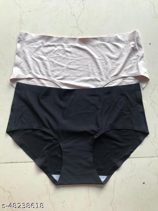 Women Seamless Black Silk Panty (Pack of 2)