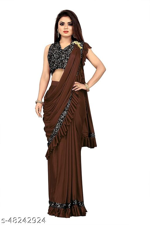 Ready To Wear Lycra Saree With Stiched Blouse