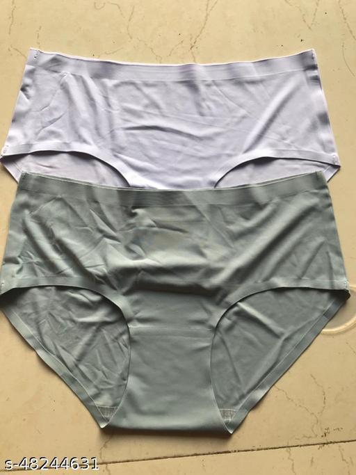 Women Seamless Grey Silk Panty (Pack of 2)