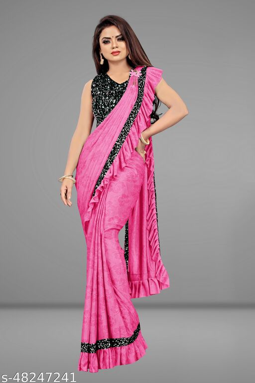 Lycra Fancy Design 1 minute Saree With Stitched Blouse