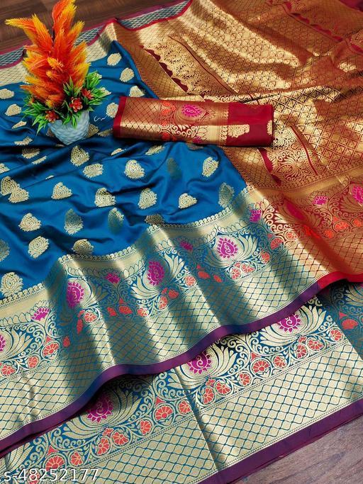 MALANI  ENTERPRISE  Pure Lichi Silk Saree With Beautiful Gold Zari Weaving With Heavy Rich Pallu