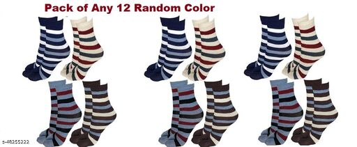 Trendy Stylish Ankle Length Multicolored Lining  Socks for Women (Pack of 12 Pairs)