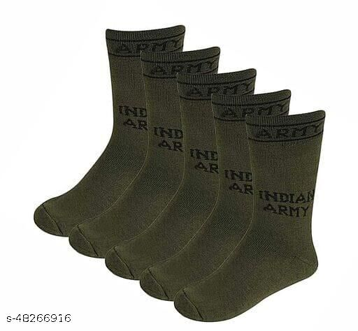 Men's 5 Pairs Combo Organic Cotton Indian Army Full Length Gents Socks