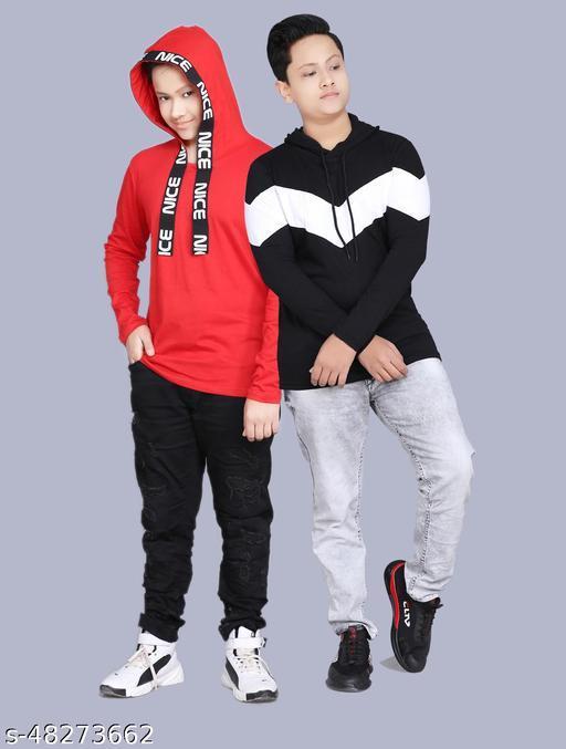 KAY DEE Colorblock Full Sleeve Hooded Tshirt for Boys Pack of 2