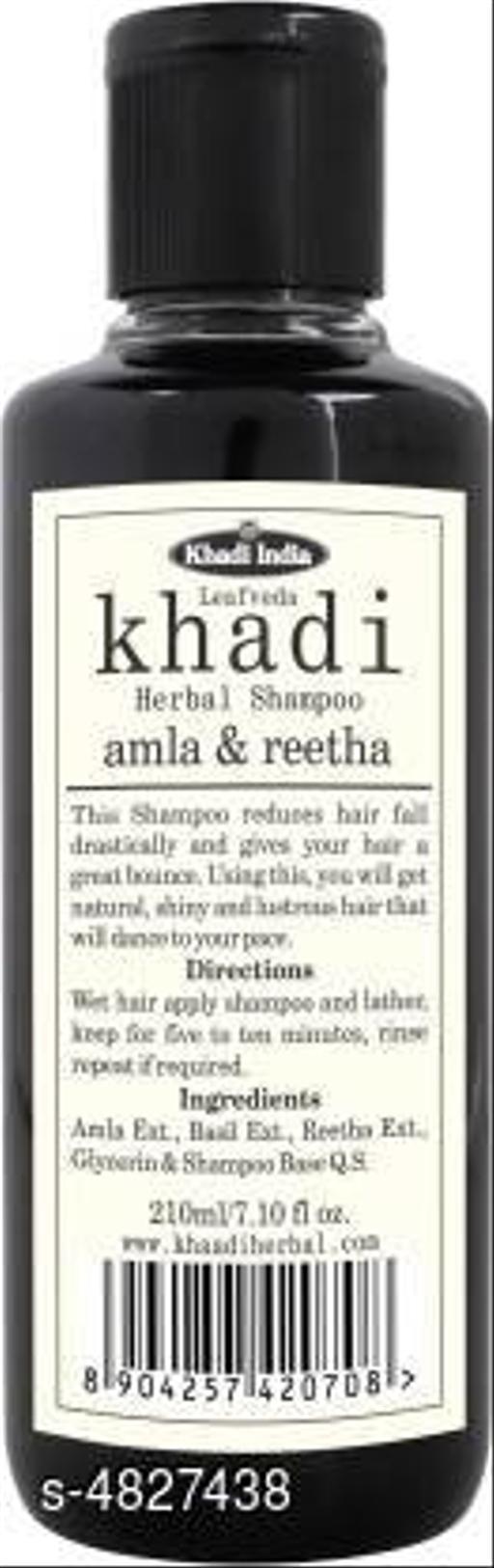 Hair Care Leafveda Khadi Amla & Reetha Shampoo (210 ml)  *Product Name* Leafveda Khadi Amla & Reetha Shampoo (210 ml)  *Multipack* 2  *Type* Hair Cleanser  *Capacity* 210 ml Each  *Sizes Available* Free Size *   Catalog Rating: ★4.4 (5)  Catalog Name: Advanced Nourshing Shampoo CatalogID_704204 C50-SC1249 Code: 431-4827438-