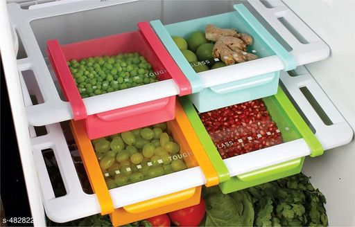 Jars & Container Multipurpose Fridge Drawers (Set Of 4)  *Material* Stainless Steel & Plastic 