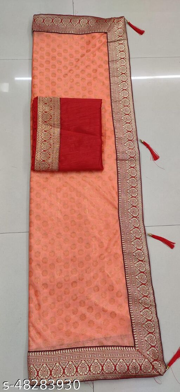 Shree Shree Thread & Dori Women's Malai Silk Jacquard Border Red Patta Party Wedding Fashion Sarees Orange Color