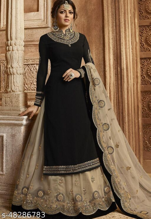 Dharmyuga Black Faux Georgette Embroidered Semi Stitched Suit With Dupatta