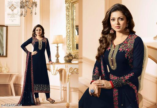 Dharmyuga Navy Blue Faux Georgette Embroidered Semi Stitched Suit With Dupatta