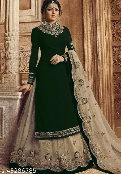 Dharmyuga Green Faux Georgette Embroidered Semi Stitched Suit With Dupatta