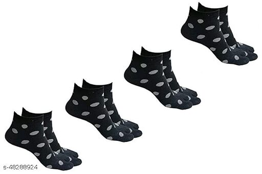 Women's Ankle Length Towel Thick Woolen Thumb Socks - Pack of 4 Pairs, Black Color
