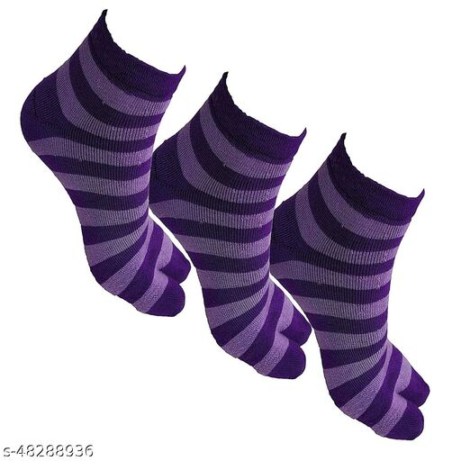Warm Woolen Winter Ankle Length Thumb Socks for Women - (Purple Color, Pack of 3 Pairs)