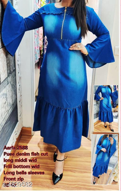 Women's Solid Blue Denim Dress