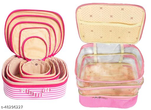 Ajabh Set of 10 Fashionable High quality Jewellery Storage I Makeup Kit box  (Cream Floral, Multicolor) Jewellery box