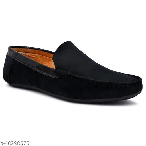 Mr Men Partywear Black Suede Loafers For Men