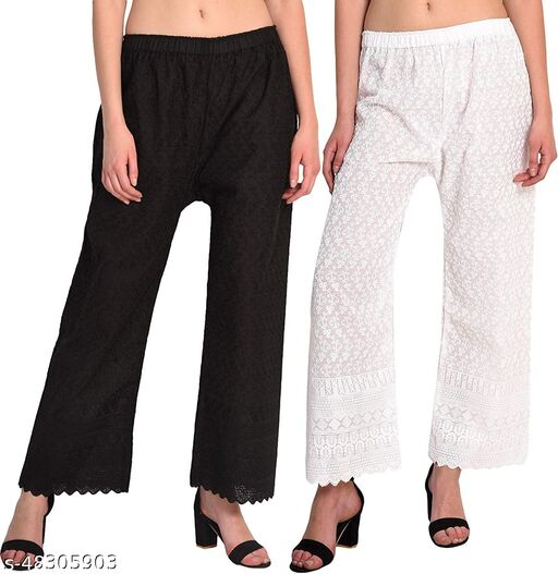 Women's Cotton Chikan Palazo Pant  with Full Embroidery Work(Black,White) Pack of 2