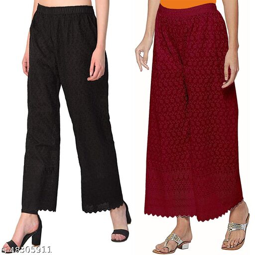 Women's Cotton Chikan Palazo Pant  with Full Embroidery Work (Black,Maroon) Pack of 2