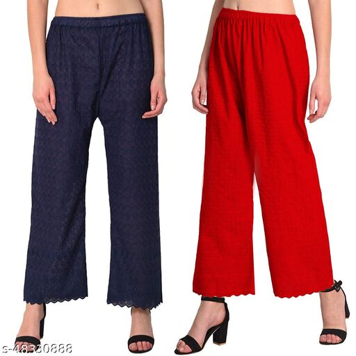 Women's Cotton Chikan Palazo Pant    Pack of 2(Navyblue,Red)