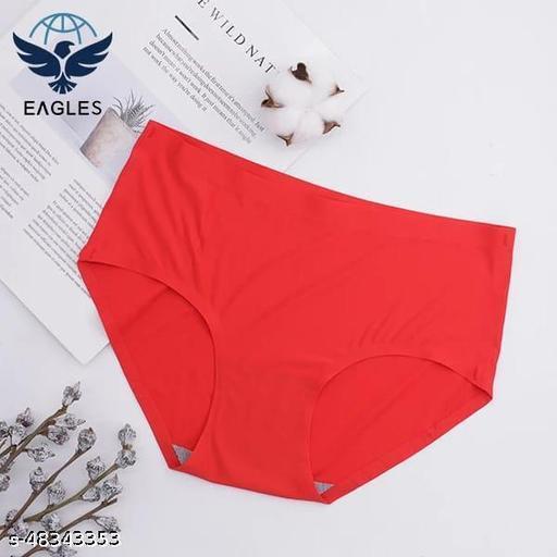 Women Bikini Red Cotton Blend Panty