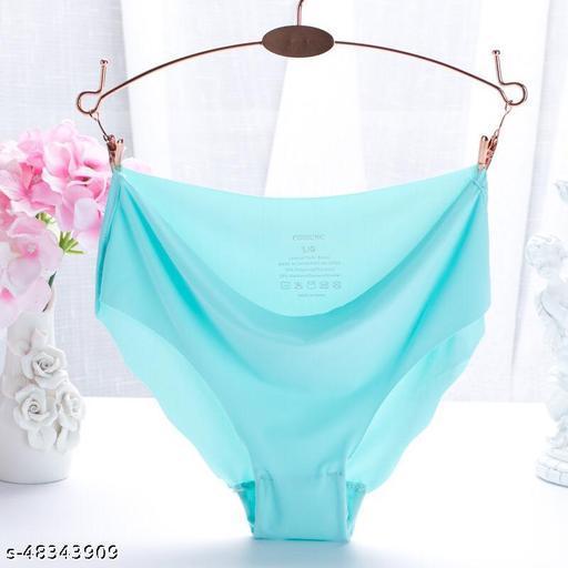 Women Bikini Aqua Blue Cotton Blend Panty