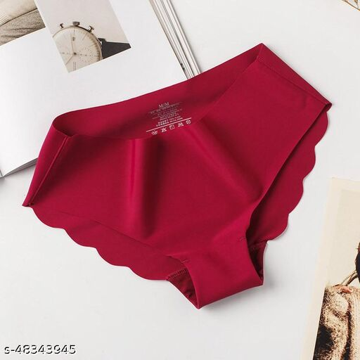 Women Bikini Maroon Cotton Blend Panty
