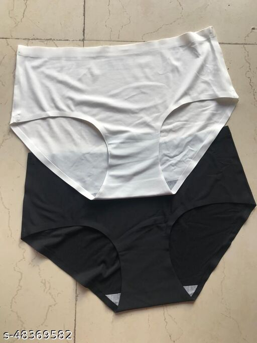 Women Bikini White Silk Panty (Pack of 2)