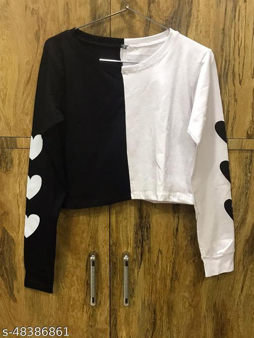 Ladiesh Western Crop Top With Heart Print Full Sleeve