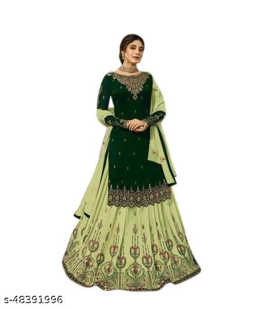 Faux Georgette Embroidered Salwar Suit Material(Unstitched)