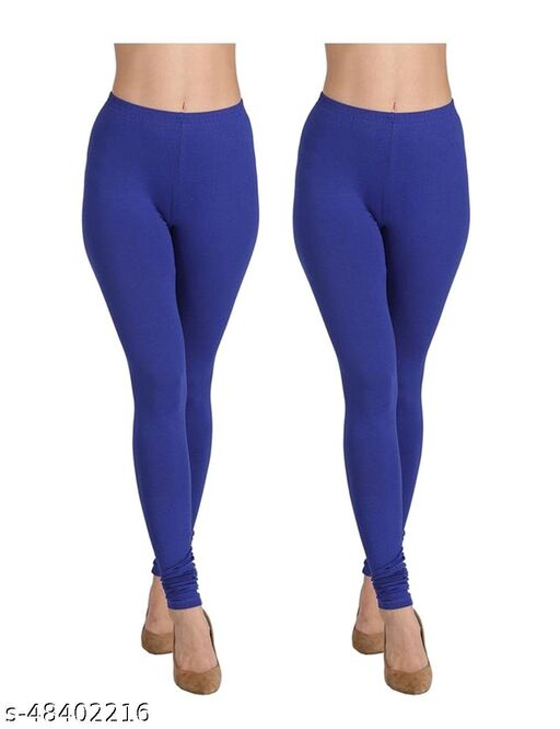 RV Fashion Ankle Length Cotton Lyra Churidar Leggings for Girls/ Women Color Royal Blue  (Pack of 2)