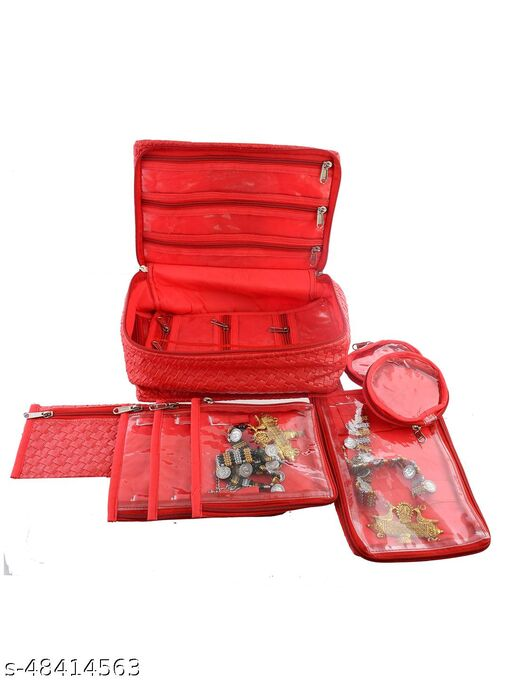 Kuber Industries Soft Leather Locker Jewellery kit with 12 Pouches  (Red)
