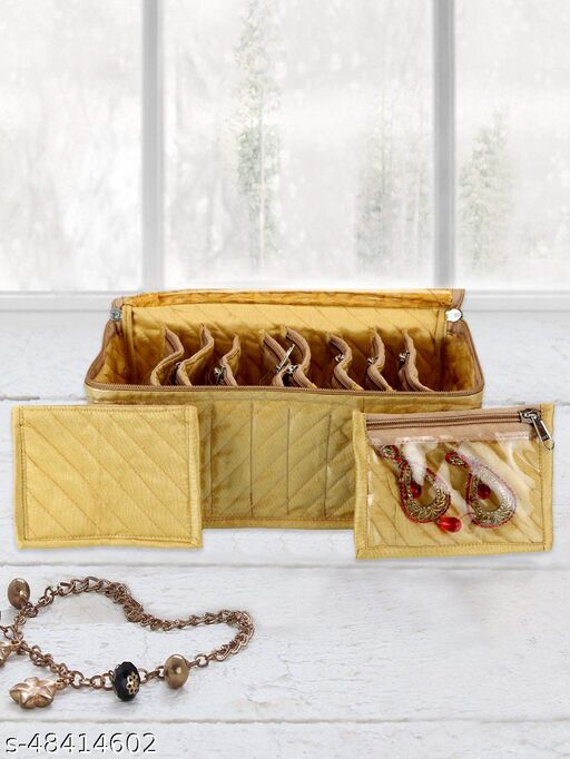 Kuber Industries Fabric Jewellery Box with 10 Transparent Pouches, (Gold)