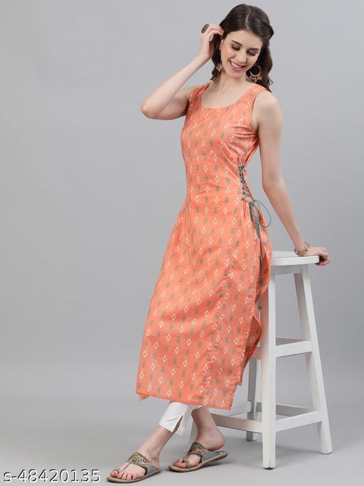 Peach Ikat Printed Sleevless Kurta