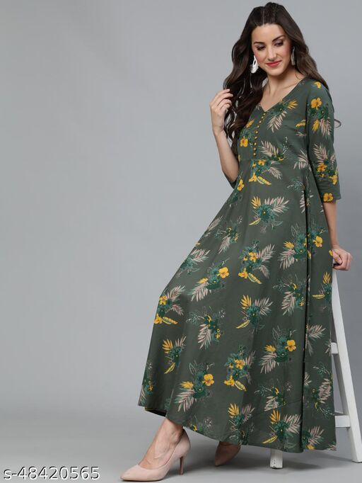 Green Floral Printed Flared Maxi Dresses