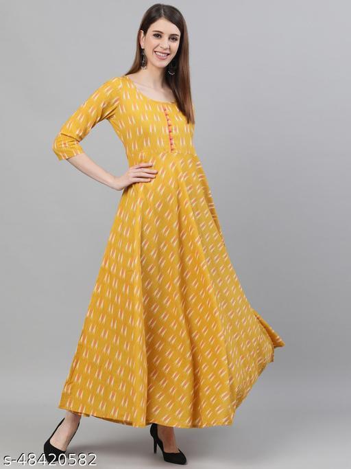 Yellow Ikat Printed Flared Maxi Dress