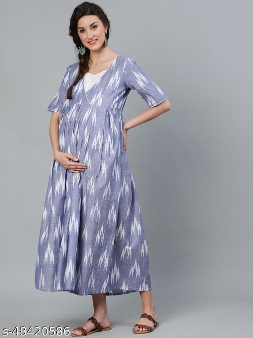 Blue & White Ikat Woven Design Maternity Maxi