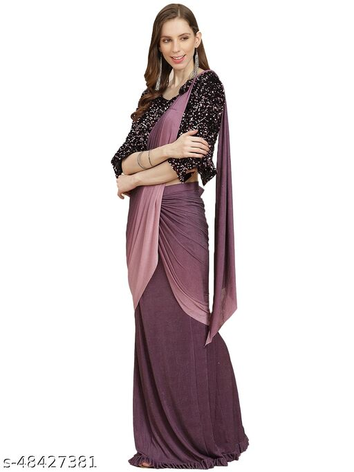 Women  Fasionable Ready to wear saree with stiched blouse for Party and Ethnic wear