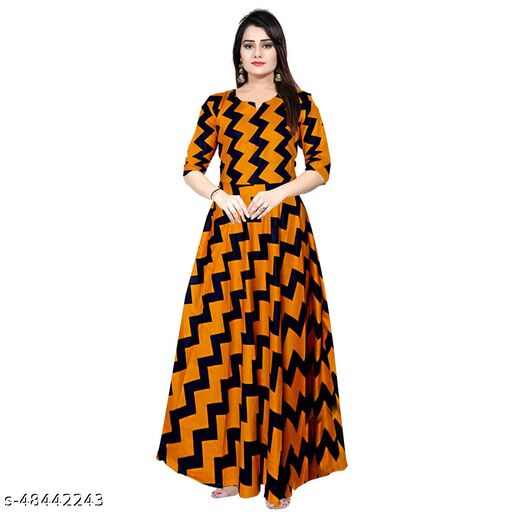 BG FAB COLLECTIONS Women Fashionable Rayon Full Sleeves Gown Dress