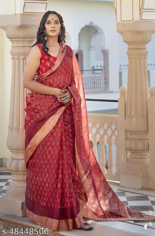 DSW Women's Cotton slub linen saree (bhagalpuri cotton slub) Handblock dabu/ajrakh print Home washable natural printing Saree
