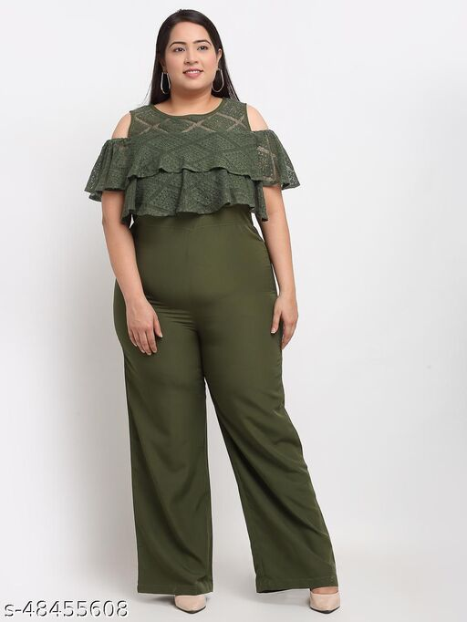 Flambeur Women's Casual Olive Green Jumpsuit