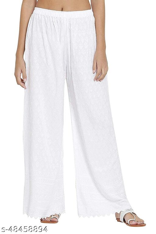 SUPRYIA FASHION Women's Rayon Full Chicken Embroidery Regular Fit Palazzos - White