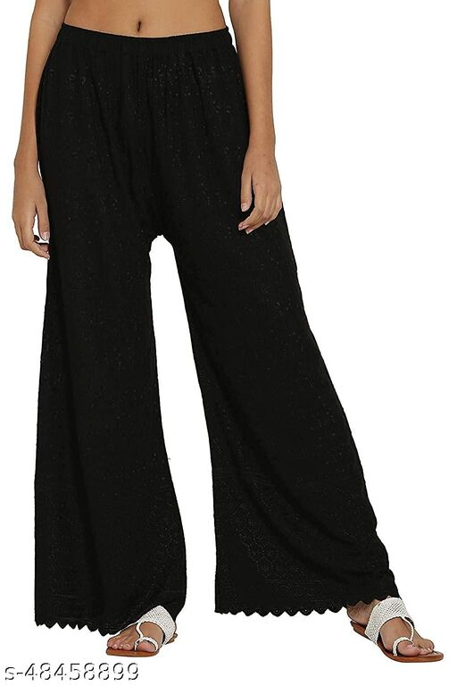 SUPRYIA FASHION Women's Rayon Full Chicken Embroidery Regular Fit Palazzos - Black