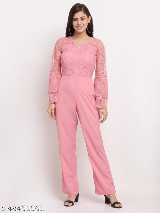 Karmic Vision  Women's Casual Pink Jumpsuit