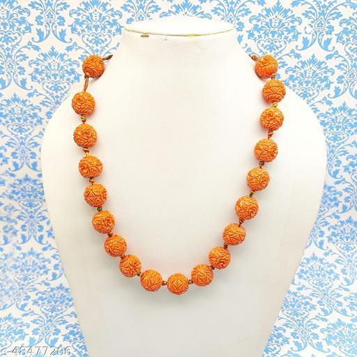 Satyam's Glass Orange Beads handcarved into rudraksh shape Neklace for Women