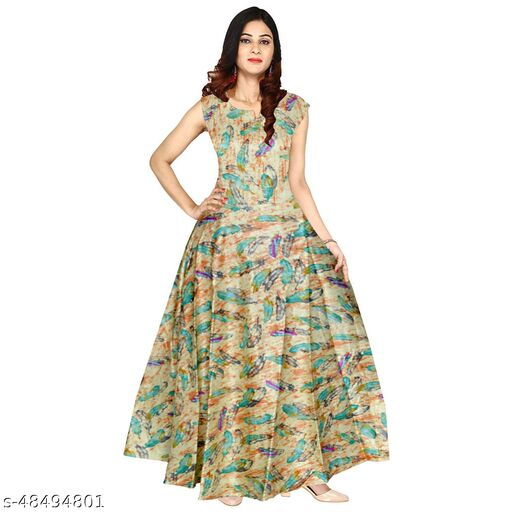 BG FAB COLLECTIONS Women Fashionable Printed Rayon Gown Dress